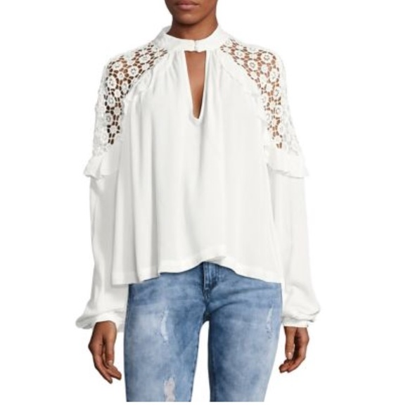 Free People Tops - Free People Embroidered Blouses White & Fucsia M